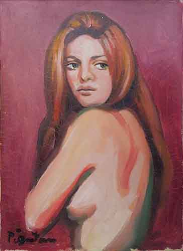 Art work by Luigi Pignataro Nudo di schiena  - oil canvas