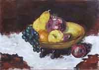 Quadro di firma Illeggibile - Canestro di frutta  olio faesite