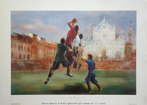 Quadro di Luigi Falai Storica partita del calcio storico fiorentino - litografia carta