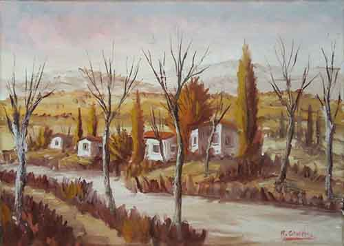 Art work by Raffaele Ghetta Paesaggio autunnale  - oil canvas
