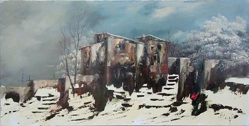 Quadro di  Aluigi Paesaggio invernale  - olio tela