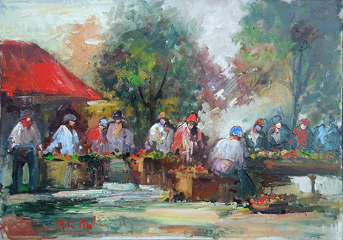 Art work by Norberto Martini Mercato - oil canvas
