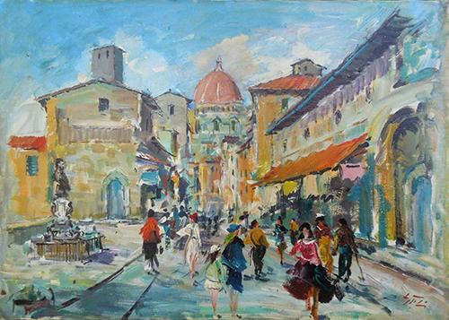 Quadro di Gino Tili Sul Ponte Vecchio  - olio tela