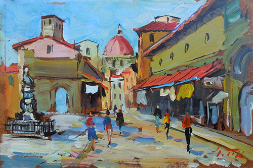Art work by Gino Tili Ponte Vecchio - oil hardboard