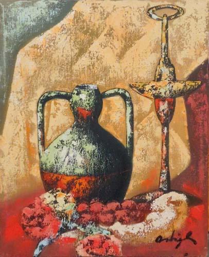 Quadro di Augusto Ostigli Composizione con anfora - olio tela