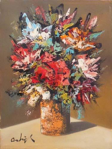 Quadro di Augusto Ostigli Vaso di fiori - olio tela