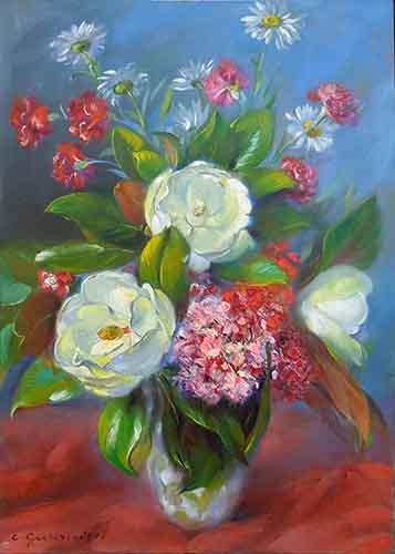 Quadro di Carlo Guarnieri Vaso di fiori - olio compensato