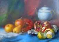 Quadro di Carlo Guarnieri - Natura morta con melograno olio faesite