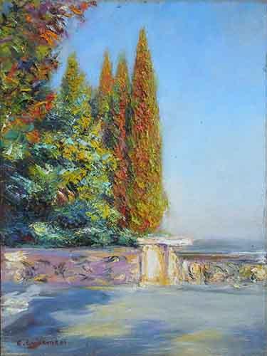 Quadro di Carlo Guarnieri Terrazza con alberi - olio faesite