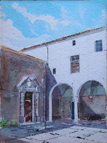 Quadro di Danilo Barachini Convento del Fegino - acquerello carta