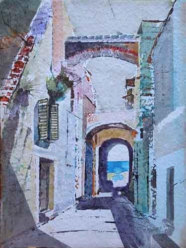 Quadro di Danilo Barachini Angolo vecchia Genova  - acquerello carta