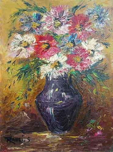 Quadro di Sergio Raugi Vaso di fiori - olio compensato