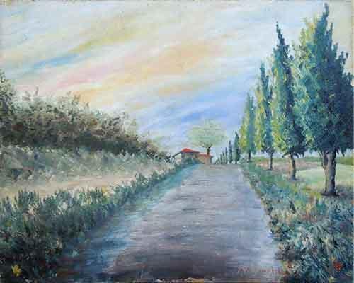 Quadro di Adelfo Ambrogini Strada con alberi - olio compensato