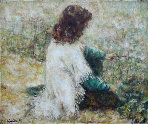 Quadro di Francesco  Giuntini La ragazza e le ninfee - olio tela