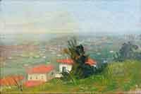 Quadro di Boris  Savatteri - Panorama di Livorno  olio compensato