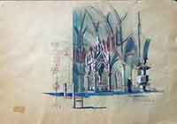 Quadro di  Modica  - Cattedrale  acquerello carta