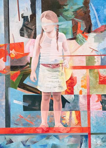 Quadro di Luciano Borin Little girl standing - olio tavola