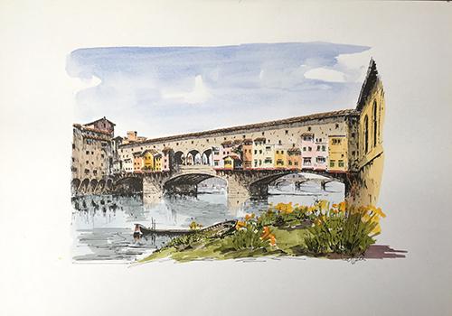 Quadro di Renato Cappelli (Renca) Ponte Vecchio  - acquerello carta