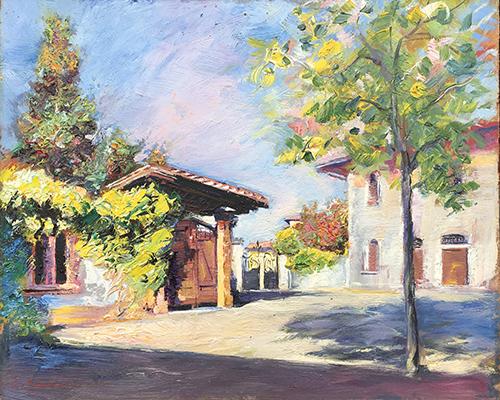 Quadro di Carlo Guarnieri Paesaggio  - olio faesite