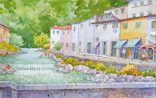 Art work by Giovanni Ospitali Pracchia - watercolor paper on table