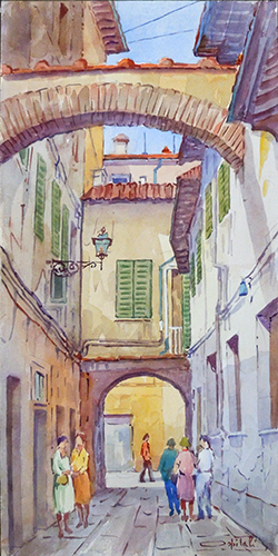 Art work by Giovanni Ospitali Vicolo S. Caterina Pistoia - watercolor paper on table