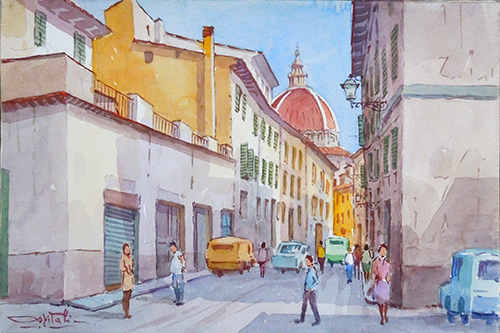 Art work by Giovanni Ospitali Via dell'Ospizio Pistoia - watercolor paper on table