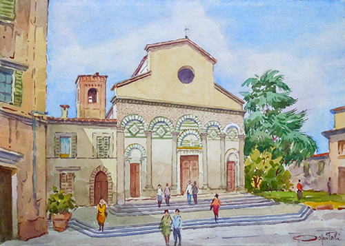 Art work by Giovanni Ospitali S. Andrea Pistoia  - watercolor paper on table