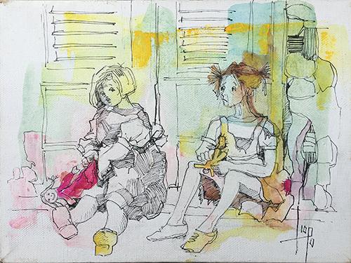 Art work by Rosita Isopo Figure - mixed canvas