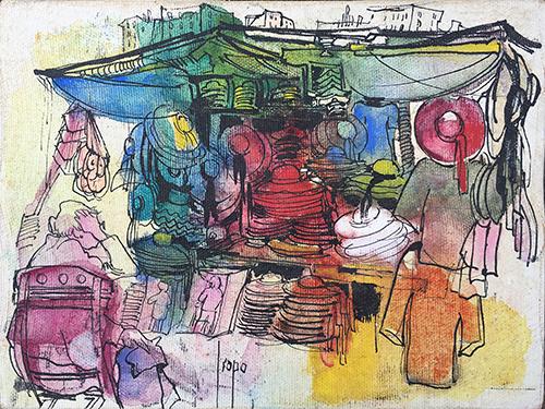 Quadro di Rosita Isopo Figure al banco - mista tela