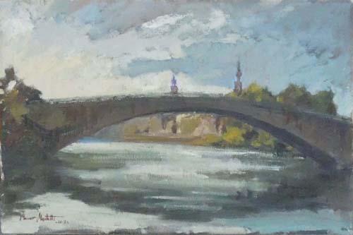 Art work by Maurizio Martelli  Controluce sull'Arno a Ponte S. Niccolò - oil canvas