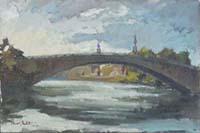 Quadro di Maurizio Martelli   Controluce sull'Arno a Ponte S. Niccolò
