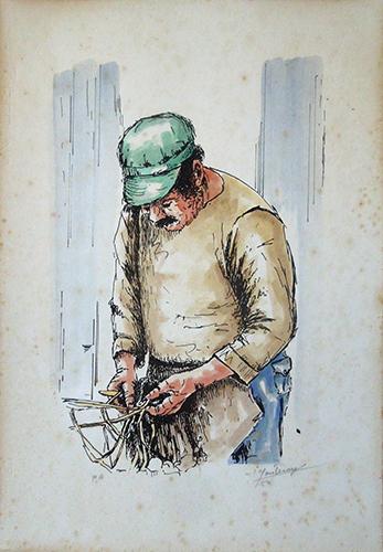 Quadro di  Montemagni Artigiano - acquerello cartone