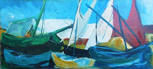 Quadro di Sineo Gemignani Barche a vela  - olio compensato