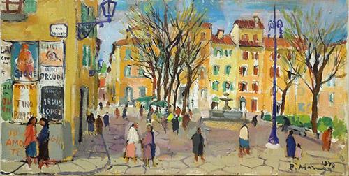 Quadro di Rodolfo Marma Piazza Santo Spirito Firenze - olio tela