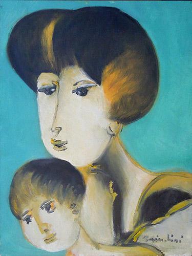 Art work by Remo Brindisi  Maternità - oil canvas