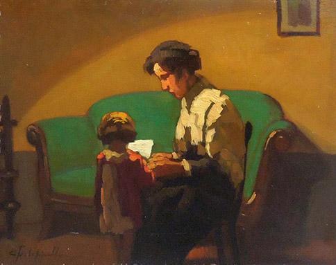 Quadro di Cafiero Filippelli La lezione al bambino - olio tavola