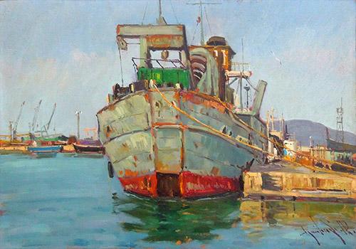 Quadro di Renzo Guidugli La Famagosta - Livorno  - olio compensato