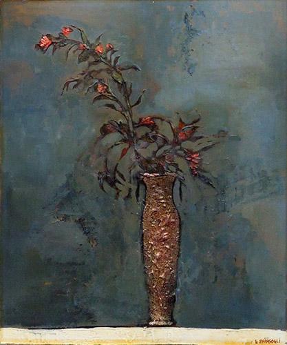 Quadro di Leonardo Papasogli Vaso con fiori su sfondo blu  - olio faesite