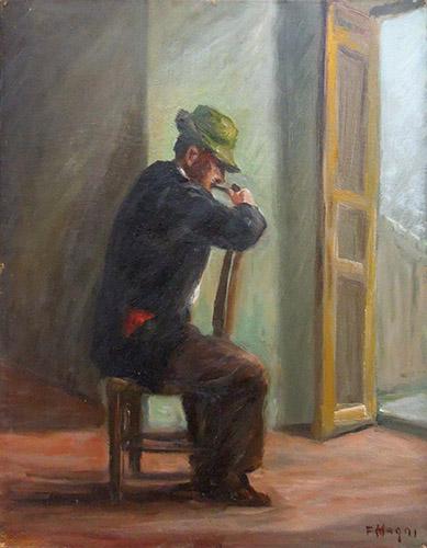 Quadro di Fausto Magni Uomo che fuma la pipa  - olio compensato