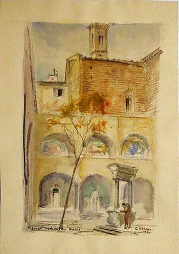 Quadro di Rodolfo Marma Chiostro di Badia - Firenze - acquerello carta