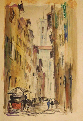 Quadro di Rodolfo Marma Via Ricasoli - Firenze - acquerello carta