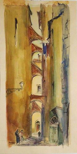 Quadro di Rodolfo Marma Vicolo Baroncelli - Firenze - acquerello carta