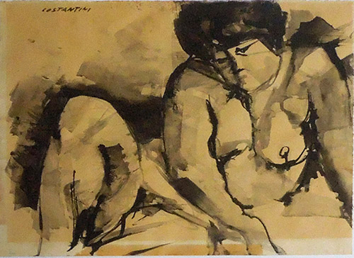 Art work by Costante Costantini Nudo - watercolor paper