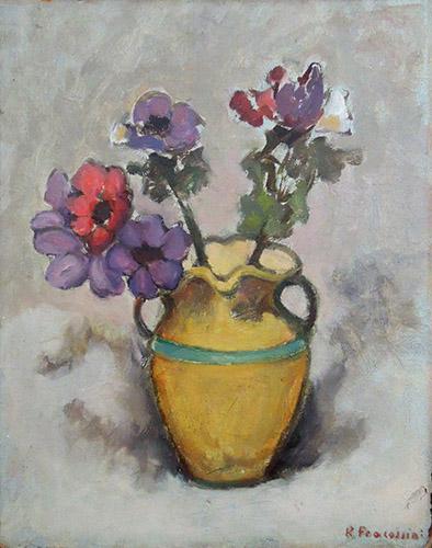 Quadro di firma Illeggibile Vaso con fiori - olio tavola
