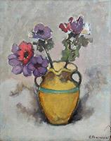 firma Illeggibile - Vaso con fiori