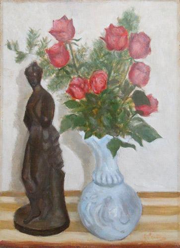 Quadro di firma Illeggibile Composizione con vaso di rose - olio tavola