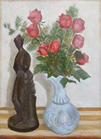 Quadro di Firma Illeggibile  Composizione con vaso di rose