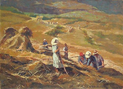 Quadro di Carlo Domenici Lavoro nei campi - olio cartone