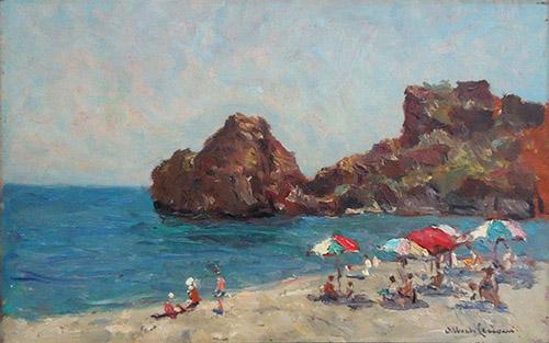 Quadro di Alberto Cecconi Spiaggia con bagnanti - olio tavola