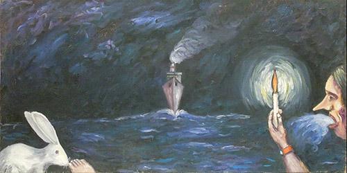 Quadro di Carlo Cecchi L'arrivo della nave in porto  - olio tela